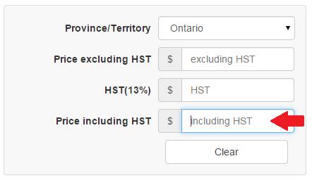 Reverse HST Calculator Input